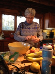 Shirley preparing Waldorf Salad.