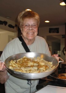Mom and the big pan of Pierogis we just finished making!