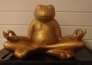 Frog Yogi looks after me in my studio.