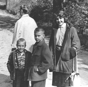 An old family photo of me with my brothers, Reid and Zed. That my mother in the background.