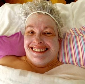 Laughing through a facial.